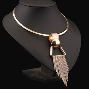Jewelry - Gold Metal Collar Tassel Pendant/ Bib Necklace